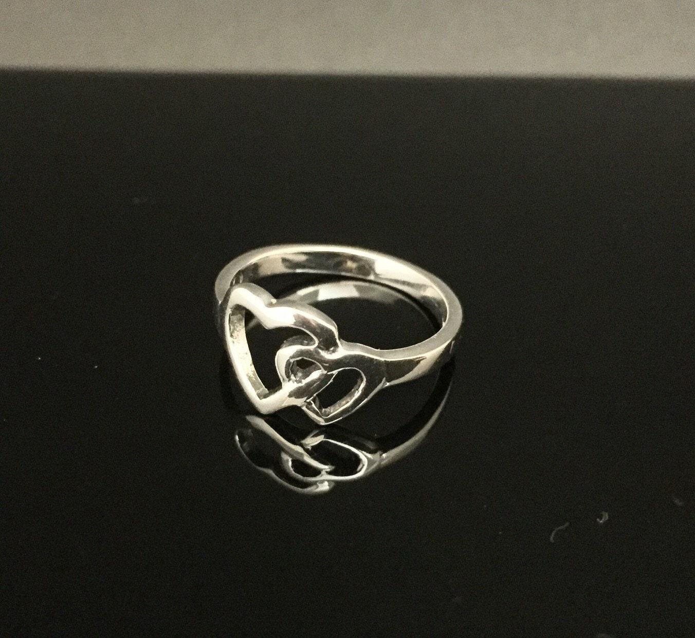 interlocking silver ring 925 sterling silver