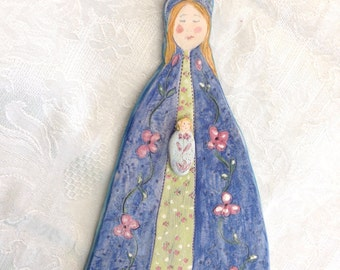 """Sweet Artist Madonna and Child Handmade Art Blue Pink Ceramic Wall Hanging by """"Lotte 1977"""""""