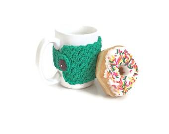 Coffee Cup Cozy, Crochet Cup Cozy, Green Mug Cozy, Coffee Cup Warmer, Coffee Cozy, Stocking Stuffer, Coffee Lovers Gift, Mug Hug