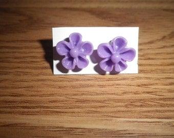 Purple Flower Earrings, Handcrafted Post Earrings, Flower Stud Earrings, Handmade Fashion Jewelry