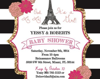 Paris themed Baby Shower Invitation