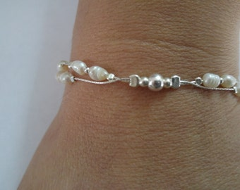 Natural Pearls Bracelete - 925 Sterling Silver Bracelete - Handmade Bracelete - 3 years warranty - Choose length 5-9 inches long