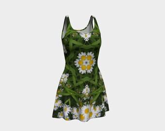 DAISIES  Flared Dress Skater Clothing Wearable Art Art Clothing Women Teen Spring Summer XS S M L