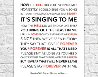 Sleeping With Sirens - If I'm James Dean... - Lyrical Song Art Poster