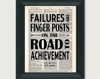 CS Lewis Quote - Failures Are Finger Posts On the Road To Achievement -  Dictionary Page Art Print Poster Typography