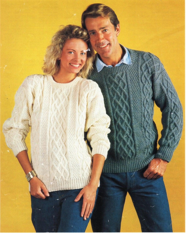 Womens Mens Aran sweater Knitting Pattern PDF ladies Aran Jumper ...