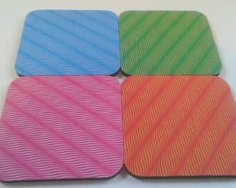 Colorful Wavy Design Coaster Set, Drink Coasters, Op Art Coasters, Design Coasters, Made By Mod.