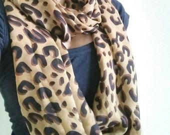 Leopard Print Scarf - Leopard Infinity Scarf - Leopard Scarf - Chiffon Scarf - Soft Scarf - Infinity Scarf - Fashion Scarf - Boho Scarf