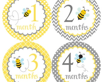 Cute Bees Monthly Onesie Stickers - Yellow Grey Gray Boy Girl Gender Neutral