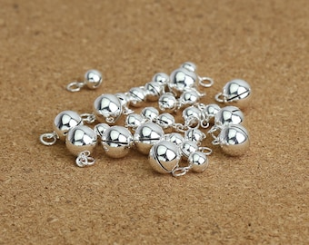 Sterling Silver Bell Charms, Sterling Silver Jingle Bell Charm, 925 Silver Bell Charm, Round Bells 5mm 6mm 7mm 8mm 10mm 12mm 14mm 16mm 18mm