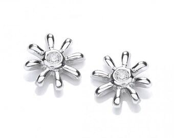 Silver Snowflake Cz Studs