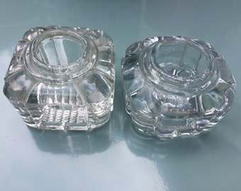 Two antique heavy glass inkwells