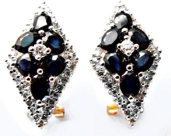 Diamond&Blue Sapphire Earrings 3.10Ct 14k Y/g