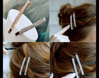 60% OFF GOLD Rhinestone Hair Pin Pair