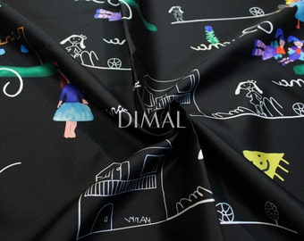 Black children draw twill fabric by the yard #5037