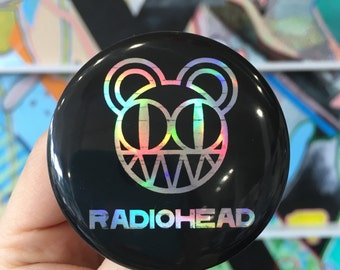 "RADIOHEAD Kid A bear 90s alternative experimental pop holographic Thom Yorke holographic 2.25"" button"