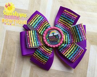 Pinwheel hair bow rainbow bottle cap hair bow