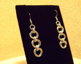 Sterling Silver Triple Flower Earrings