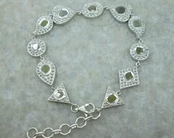 Polki Rose Cut Diamond Slices Bracelet, 925 Sterling Silver