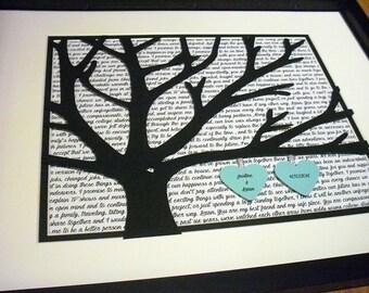 First Dance Lyrics 11X14 Framed 3D Paper Tree Wedding Gift, Anniversary, Wedding Song Lyrics