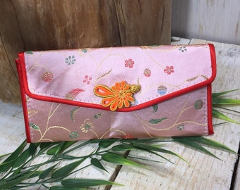 Vintage Chinese Wallet, Thin Wallet, Pink Wallet, Thin Checkbook Wallet, Womens Wallet, Japanese wallet, asian wallet, oriental wallet