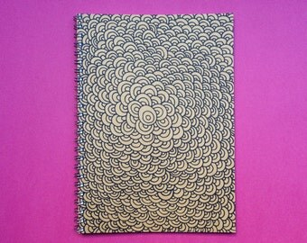 A5 Notebook, Brown Kraft Cover Handmade, Journal Diary Sketchbook, Abstract Pattern Notebook, Brown Kraft Notepad, Sketchbook