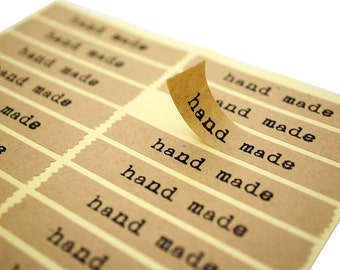 """200 x Kraft Paper """"hand made"""" Labels Stickers Seals for sealing bags, boxes, or anything else you wish!"""