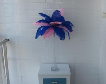 2016 Discount 50 Royal blue & 50 Pink Ostrich Feather  for Wedding centerpieces