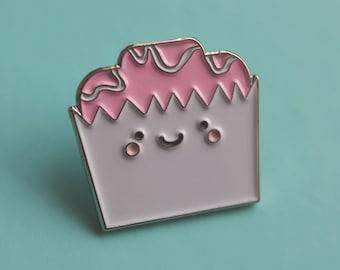 Enamel Pin Badge Cute Kawaii Pink Fondant Fancy Cake - Lapel Pin - Tie Pin - Flair - Brooch