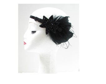 Black Feather Headpiece Great Gatsby Flapper Headband 1920s Deco Hair Band W59