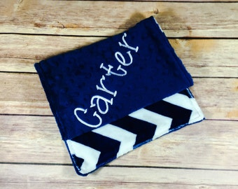 Blue Chevron Burp Cloth Set or Individual All Colors Available Mix and Match  Made to Order, Monogramming Option