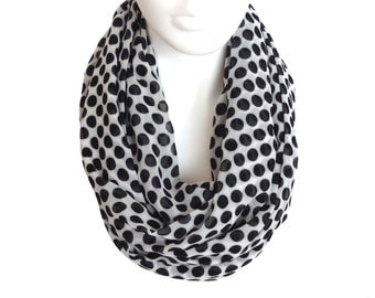 Free Shipping, white black polka dot scarf, infinity scarf, extra long scarf, chiffon scarf, print infinity scarf loop,  fall scarves