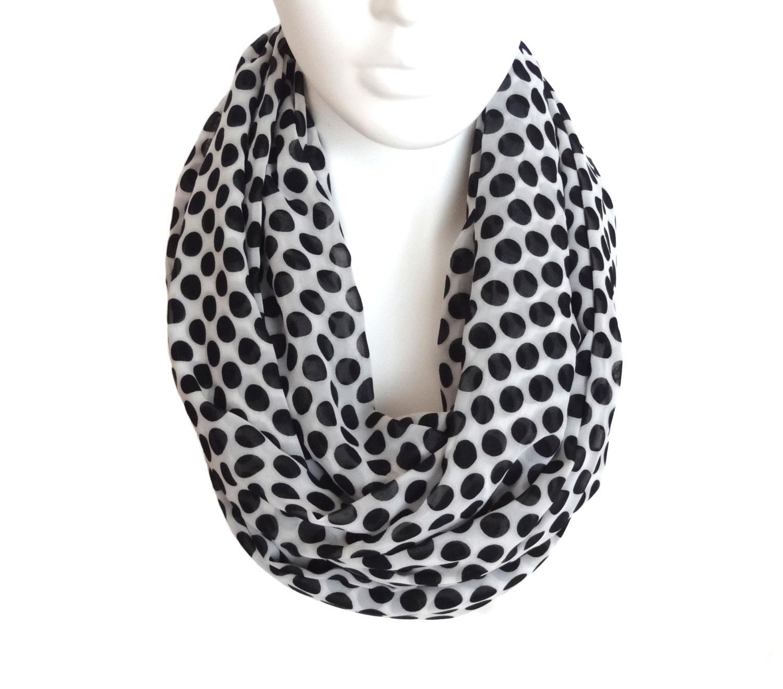 free shipping white black polka dot scarf infinity scarf