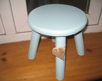 Blue shabby chic wooden milking stool