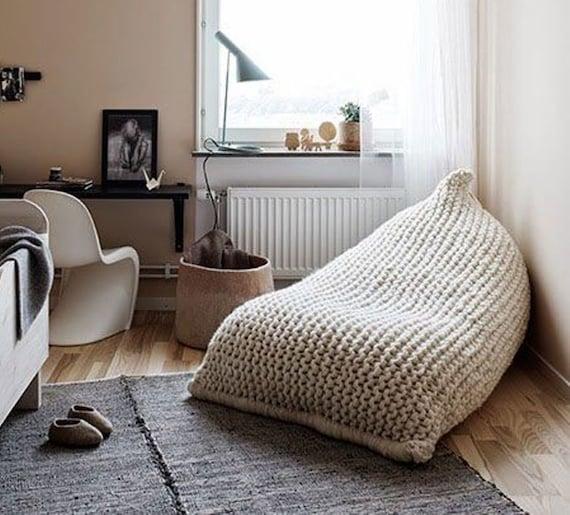 Chunky merino wool White/Cream Knit Adult bean bag / by ...