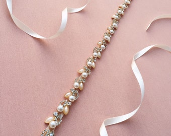 Pearl Wedding Belt | Pearl and Gold Bridal Sash Belt | Thin Pearl Rhinestone Wedding Dress Belt | Gold Phoebe Sash