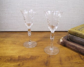 Small Fluted Stemmed Glasses - Etched - Ribbed - Set of Two (2)