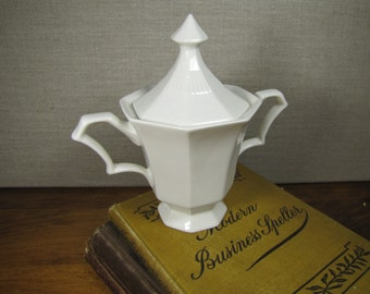 Nikko Classic Collection - Covered Sugar Dish - Creamy White - Paneled Sides - Knob Handled Lid - Two Handles