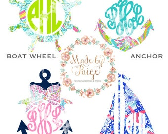 Lilly Pulitzer Inspired Nautical Monogram Decal
