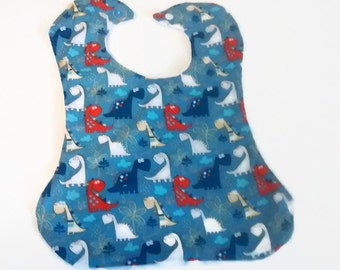 Blue  and Red Dinosaurs Giant Bib - Baoy Toddler Bib cotton and terry cloth -  Big bib for toddler and baby boys