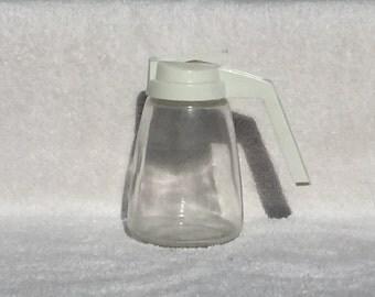 Vintage Federal Housewares Glass Beige Top Syrup Creamer Honey Dispenser