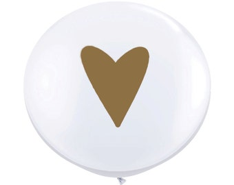 """36"""" Metallic Gold Heart Balloons // Wedding Balloons // Paper and Party Supplies"""