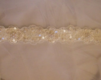 Bridal or Bridesmaid's Sash/Belt Embellished with Crystals, Sequins and Pearls on Lace