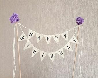 Happy Birthday Cake Topper Banner, Happy birthday sign,  black and white happy birthday cake banner