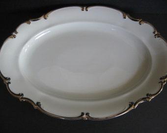 "Hutschenreuther China,Vintage China,China Platter, 15"",White China,Platinum Trim, Revere Pattern,Silver ToneTrim"