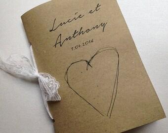 wedding guestbook - kraft binding lace