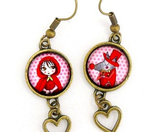 "Earrings ""red riding and the wolf"""