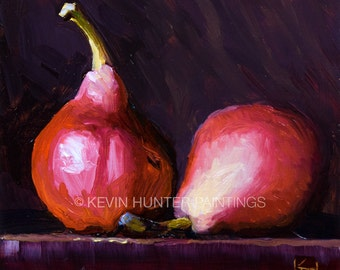 A Pair of Red Pears in Oil