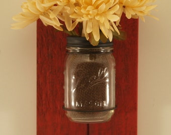 Primitive Barn Wood Mason Jar Sconce/16 oz./ Red/Set of two