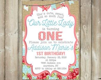 FIRST BIRTHDAY INVITATION - Girls First Birthday Invite - Shabby Chic Birthday  - Digital File